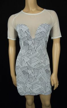 OPENING CEREMONY Dress M Black White Sheer Mesh Bodice Bodycon Stretch Cocktail