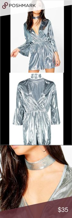 🎉Coming Soon🎉 Metallic Choker Romper Metallic choker romper. In metallic silver. Perfect for a night out or New Years uk size 8 which is a USA size 4 Dresses