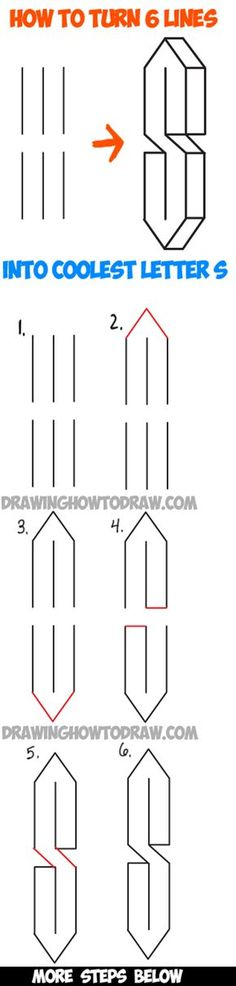 Learn How to Turn 6 Lines into The Coolest Letter S - Easy Step by Step Drawing Tutorial for Kids - How to Draw Step by Step Drawing Tutorials Drawing Skills, Drawing Lessons, Drawing Techniques, Drawing Tips, Drawing Ideas, Drawing Drawing, Drawing Tutorials For Kids, Drawing For Kids, How To Draw Steps