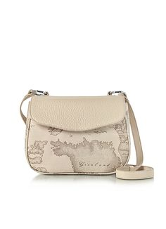 Alviero+Martini+1A+Classe+Small+Geo+Safari+Print+and+Cream+Grained+Leather+Crossbody+Bag