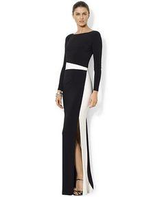 Lauren Ralph Lauren Long-Sleeve Colorblocked Gown - Dresses - Women - Macy's