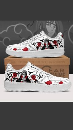 Custom Sneakers, Custom Shoes, Naruto Shoes, Itachi, Naruto Uzumaki, Air Force Shoes, Best Anime Shows, Patchwork Jeans, Painted Shoes