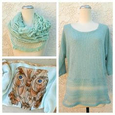 Mint | Lace Top, Owl Print & Infinity Scarf <3