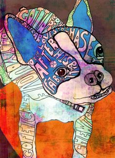 Boston Terrier by Robin Mead Ozzy The Wonder Dog Painting - Ozzy The Wonder Dog Fine Art Print Arte Grunge, Grunge Art, Art Journal Inspiration, Painting Inspiration, Word Art, Middle School Art, Art Lessons Elementary, Art Classroom, Classroom Ideas