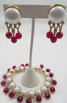Trifari 1958 'Fascination' Faux Pearl and Red Beaded Bracelet and Earring Set