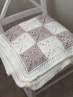 Arielle's Square Blanket - Knitting Patterns and Crochet Patterns from KnitPicks.Arielle's Square Blanket - Knitting Patterns and Crochet Patterns from KnitPicks. - Knitting and Crochet Point Granny Au Crochet, Crochet Square Blanket, Granny Square Crochet Pattern, Afghan Crochet Patterns, Baby Blanket Crochet, Knitting Patterns, Baby Granny Square Blanket, Crotchet Patterns, Chunky Blanket