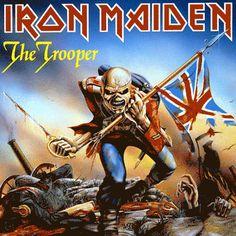 The Trooper   Iron Maiden  Talvez a obra mais celebrada de Derek Riggs, Eddie faz parte do exército inglês no meio da Guerra da Crimeia.