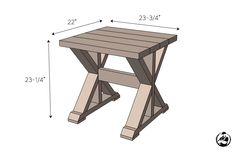 DIY Lybrook Side Table Plans - Dimensions