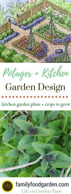 What to plant in a potager garden + kitchen garden design plans #gardeningdesign