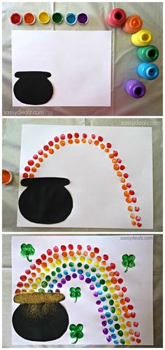 Fingerprint Rainbow Pot of Gold Craft For St. Patrick's Day #Art Project #St pattys day #Shamrocks | http://www.sassydealz.com/2014/02/fingerprint-rainbow-pot-gold-craft-st-patricks-day.html