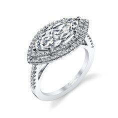 Modern Romantic Double Halo Marquise Diamond Engagement Ring | Diamond…