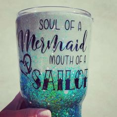 Glitter Dipped Yeti, Glow in the Dark Glitter Tumbler, with Soul of A Mermaid, Mouth of A Sailor quote//Glitter Yeti Tumbler//Custom Options Meerjungfrau Zitate Diy Tumblers, Custom Tumblers, Glitter Tumblers, Tumblr Cup, Mermaid Quotes, Bff, Origami, Daisy, Custom Cups