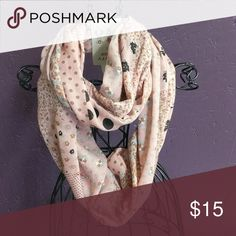 Infinity Scarf Multi color brown, black, white, darker coral/peach,blue Accessories Scarves & Wraps