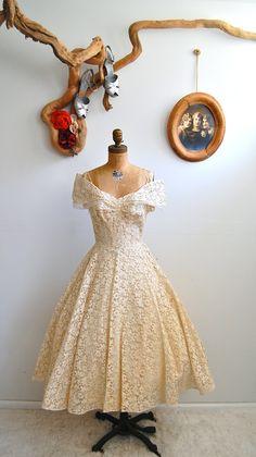 R E S E R V E D - Vintage 1950s Wedding Dress - 50s Lace Party Dress - The Grace. $156.00, via Etsy.