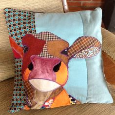 handmade cushions The place to find beautiful handmade individual cushions with appliqued animals. Antique recycled and new fabrics bring richness of texture to these textile artworks. Applique Cushions, Applique Quilts, Handmade Cushions, Diy Pillows, Cushions To Make, Fabric Art, Fabric Crafts, Fabric Decor, Farm Quilt