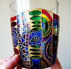 Hand painted Glass Coffee Mug Tea Mug tea Cup Coffee by LamPamPam