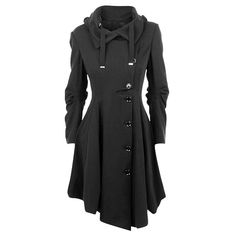 Single-Breasted Irregular Hem Skirted Coat ($43) ❤ liked on Polyvore featuring outerwear, coats and single-breasted trench coats