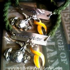 Marine Mom & Marine Sister OD Green Hand Stamped Boot Band Bracelets with EGA & Yellow Support Ribbon - Hand Made by Me :) - $9.00 plus shipping www.myheroskeepsakes.com www.facebook.com/myheroskeepsakes