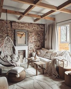 Interior goals right there! What's your favorite room in your home? Rustic Farmhouse, Farmhouse Style, Jo And Judy, Monochromatic Decor, Salons Cosy, Outdoor Tables And Chairs, Style Deco, White Cushions, Home Decor Styles