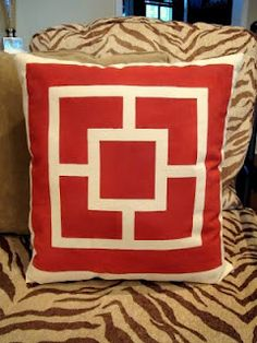 DIY Screen Print Paint and Tape= Gorgeous Pillows! Diy Screen Printing, Screen Printer, Diy Pillows, Cushions, Stenciled Pillows, Nautical Pillows, Patio Pillows, Sewing Pillows, Custom Pillows