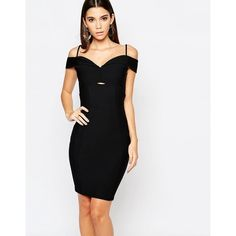 Ariana Grande for Lipsy Strappy Bardot Pencil Dress ($79) ❤ liked on Polyvore featuring dresses, black, woven dress, key hole dress, strappy dress, stretch bodycon dress and stretch pencil dress