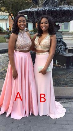 Pink Long Prom Dresses Ball Gown, Two Pieces Prom Dres,Cheap High Neck Rhinestones Mid Section Sexy Evening Prom Gown,Detachable Skirt Prom Dress Prom Dresses Long Pink, Prom Dresses Two Piece, V Neck Prom Dresses, Beaded Prom Dress, Trendy Dresses, Homecoming Dresses, Evening Dresses, Dress Prom, Dress Long