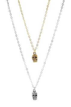 Silver & Gold Skull Necklace Set