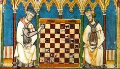 Templars playing chess from 'Libro de los Juegos', or the Book of Games' commissioned by Alfonso X of Castile, Galicia and Leon in 1283.