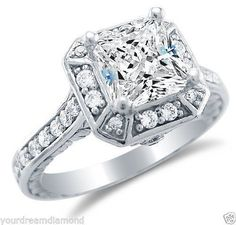 nice 2.00ct Princess Minimize Man Made Diamond Engagement Ring Strong 14okay White Gold