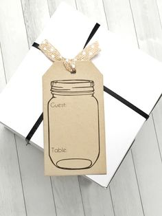 Mason Jar Place Cards - Travel Escort Cards - Woods Themed Seating Cards - Set of 50 tags