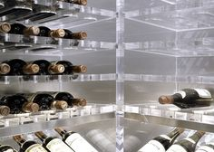 Acrylic wine systems' transparency makes them an unconventional, clean approach to wine storage. Let Papro Wine Cellars & Consulting design your acrylic system today. Rustic Basement Bar, Basement Bar Designs, Caves, Wine Vault, Modern Wine Rack, Mounted Bottle Opener, Acrylic Furniture, Plexiglass, Wine Display