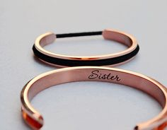 BUY FOUR BRACELETS FREE SHIPPING. Use Code: BUY4FREESHIPPING.  - Personal words and name can be engraved and six fonts (the last picture) available. -