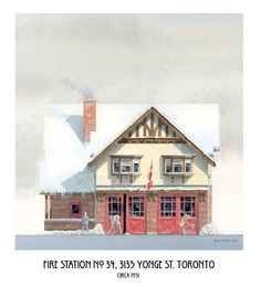 Fire Station No. by WaltsTSquare on Etsy Toronto Architecture, Fire Hall, Yonge Street, Roll Up Doors, Firefighter Gifts, Urban Setting, Bay Window, Fire Trucks, Tudor