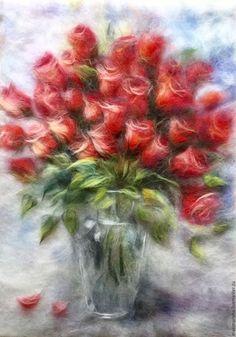 Картины цветов ручной работы. Ярмарка Мастеров - ручная работа. Купить Картина из шерсти Огонь моей любви, цена до 6.05. Handmade.