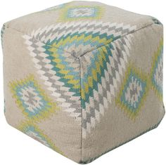 Get taken away in tribal with this fashionable pouf from the Beth Lacefield collection. The brilliantly bold coloring pops against the soft backdrop.