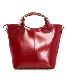 Look what I found on #zulily! Red Buckle-Handle Leather Tote #zulilyfinds