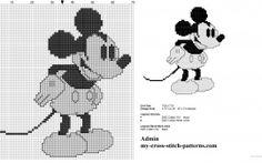 Disney vintage Mickey Mouse black and white cross stitch pattern