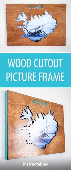 Wood Cutout of Iceland With Picture Behind It  #decor #home