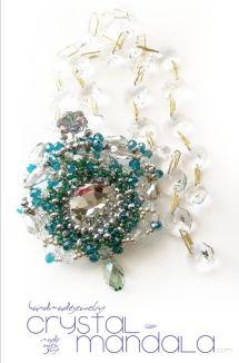 beaded necklace, Ciondolo Perline, Beading Pendant, bead embroidery - by machegioia® - crystal-mandala.com dichroic cabochon, crystal rivoli, #lecervin.