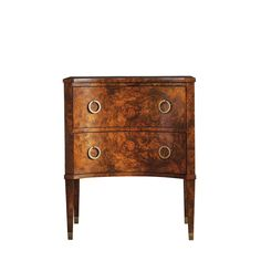 retro style side table in burl wood two drawers with edged brass