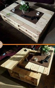 DIY Craft Project: Lift Top Pallet Coffee Table You are in the right place about wood crates texture Diy Pallet Furniture, Diy Pallet Projects, Diy Craft Projects, Diy Crafts, Smart Furniture, Wood Crates, Wood Pallets, Pallet Creations, Modern Coffee Tables
