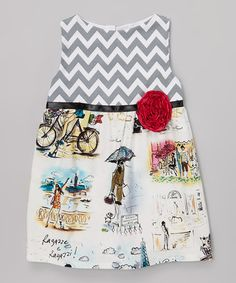 Another great find on #zulily! Gray Zigzag Eiffel Tower Dress - Toddler & Girls by Wonder Me #zulilyfinds