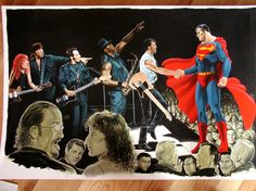 Superman meets Bruce Springsteen and the East Street Band Comic Art