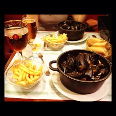 Brussels, Belgium - Chez Leon de Bruxelles where pomme frites (not French in origin) and mussels are national yummies.