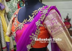 Stunning orange color ethnic designer blouse with floret lata design hand embroidery silver thread and bead work. Blouse with silver jari sleeves. Sari Design, Shirt Embroidery, Embroidery Jewelry, Half Saree Designs, Blouse Designs, Urban Threads, Mexican Dresses, Blouse Styles, Indian Fashion