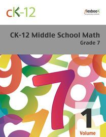 CK-12 Middle School Math - Grade 7, Volume 1 of 2 | http://paperloveanddreams.com/book/518246775/ck-12-middle-school-math-grade-7-volume-1-of-2 | Explores foundational math concepts that will prepare students for Algebra and more advanced subjects. Material includes decimals, fractions, exponents, integers, percents, inequalities, and some basic geometry. Volume 1 includes the first 6 chapters.
