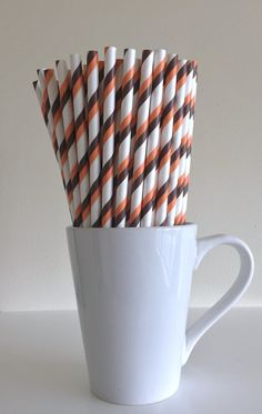 Paper Straws - Orange and Brown and White Striped Party Straws Cleveland Browns Birthday Wedding Baby Shower Bridal Shower Mix by PuppyCatCrafts
