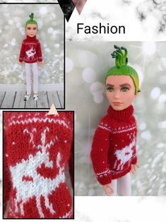Items similar to Christmas sweaters Matching clothes for Monster High dolls. Hand-knitted dark red sweater for a MH boy and olive green sweater for a MH girl on Etsy Monster High Boys, Monster High Doll Clothes, Matching Clothes, Matching Outfits, Boy Doll, Girl Dolls, Olive Green Sweater, Clothes Crafts, Knitted Dolls