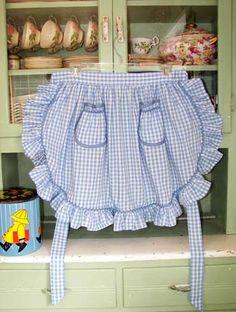 1948 Ruffle half apron Retro aprons Women Girl Ruffles Old Fashioned Retro Apron, Aprons Vintage, Blue Gingham, Gingham Check, Half Apron Patterns, Jolie Lingerie, Cute Aprons, Sewing Aprons, Linen Apron