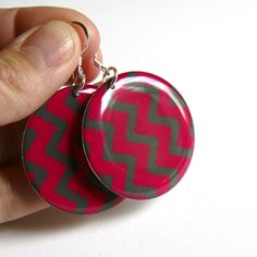 Bright Pink & Dark Gray Chevron Large Resin by decor8yourself, $18.00